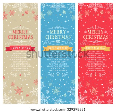Christmas Vertical Banners with Space for Copy - Illustration Vector Set of Christmas Cards - stock vector