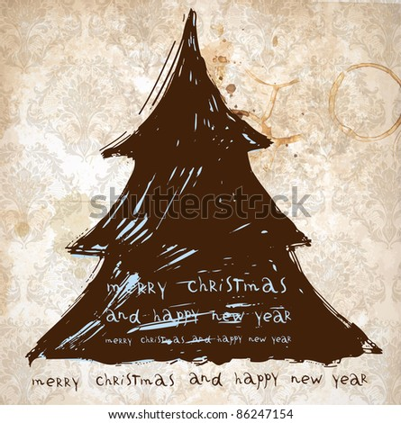 Christmas vintage background with retro hand drawn xmas tree for holiday design - stock vector