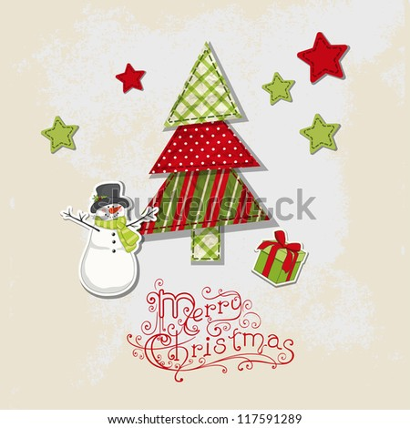 Christmas vintage background with scrapbooking elements: fur, gift and snowman. New Year template - stock vector