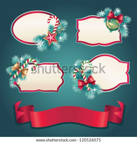 Christmas vintage banner set label collection - stock vector