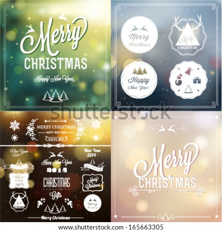 Christmas vintage card - stock vector