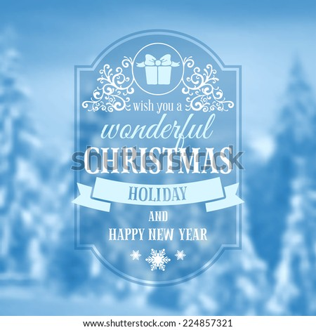 Christmas vintage card with the defocused snow-covered fir-trees in forest. Vector illustration.  - stock vector