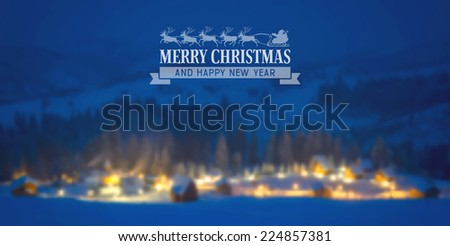 Christmas vintage card with the defocused snow-covered houses in forest. Vector illustration.  - stock vector