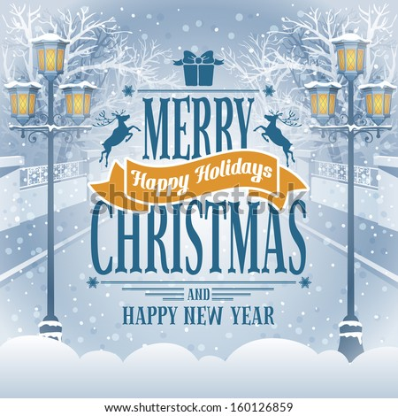 Christmas vintage card with the lanterns in snow-covered park. Detailed vector picture.  - stock vector