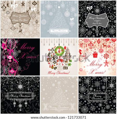 Christmas vintage cards - stock vector