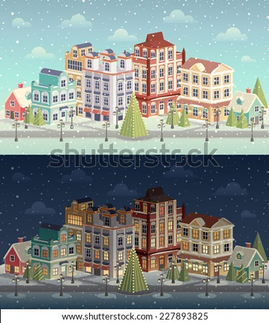 Christmas vintage cityscape and snowfall. Vector illustration. - stock vector