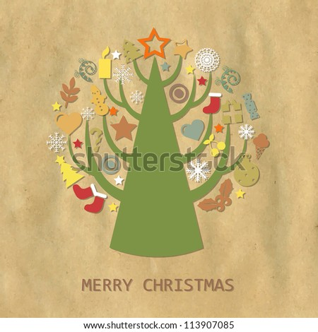 Christmas Vintage Composition With Cardboard Structure, Vector Illustration - stock vector