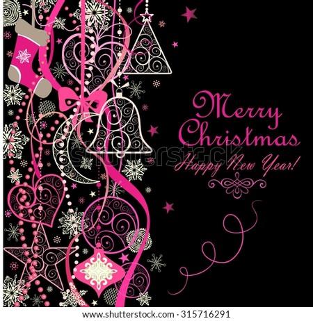 Christmas vintage decoration - stock vector
