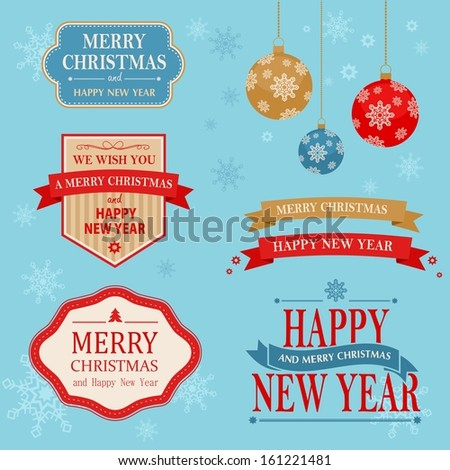 Christmas vintage design set - vector labels and emblems collection - stock vector