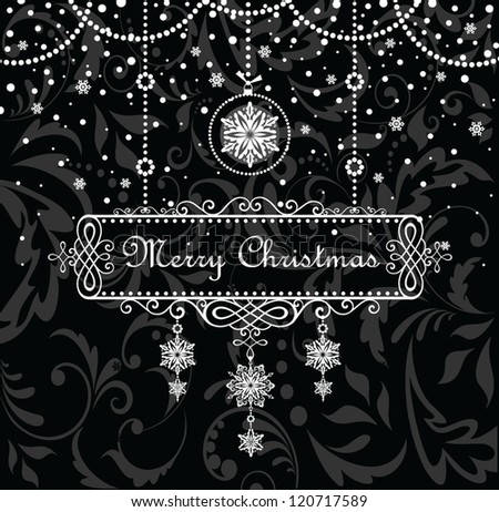 Christmas vintage frame - stock vector