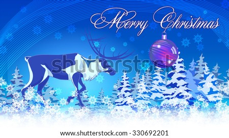Christmas vintage greeting card on winter landscape - stock vector