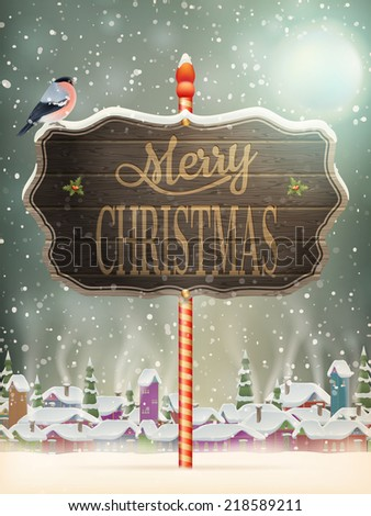 Christmas vintage greeting card on winter village. EPS 10 vector file included - stock vector