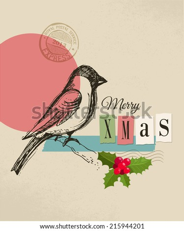Christmas vintage greeting card, retro air mail concept. Hand drawing acorn, birds and ribbon, scrapbooking elements - stock vector