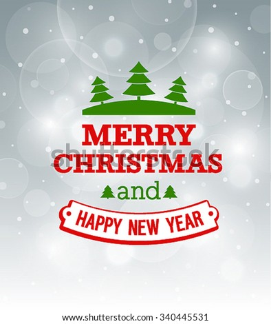 Christmas vintage greeting card. Vector illustration. - stock vector