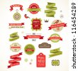 Christmas vintage labels, elements and illustrations - stock photo