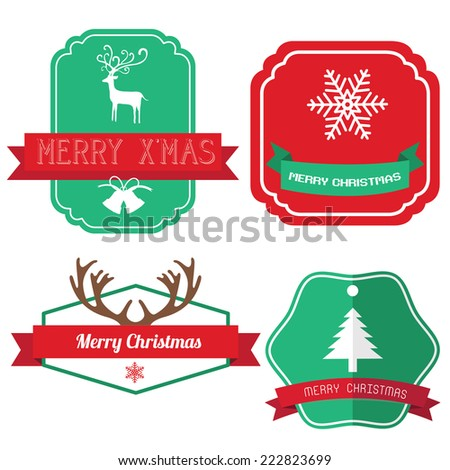 Christmas vintage labels ribbon elements
