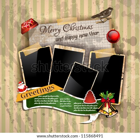 Christmas Vintage scrapbook composition with old style distressed postage design elements and antique photo frames plus some post stickers. - stock vector