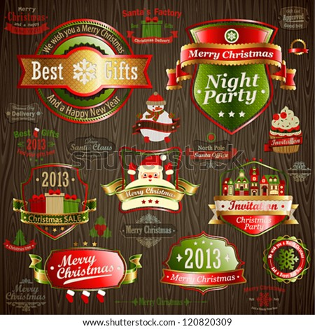 Christmas vintage set - labels and other decorative elements on wood texture. Vector illustration. - stock vector