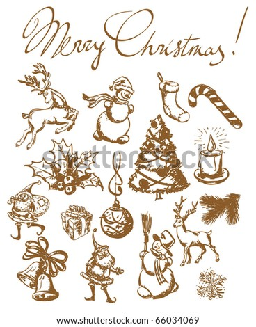 Christmas vintage sketches. Hand drown design elements vector set. - stock vector