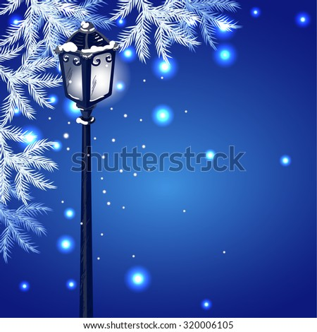 Christmas vintage streetlamp on the evening landscape background and fur tree - stock vector