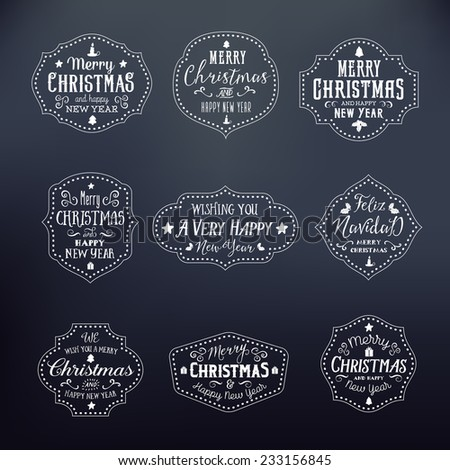 Christmas Vintage Typography Vector Badges Set of Nine Pieces on Noble Black - stock vector