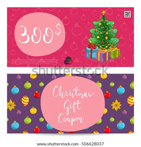 Christmas Voucher Template Vector. Xmas Gift Voucher Layout Or Discount  Voucher.