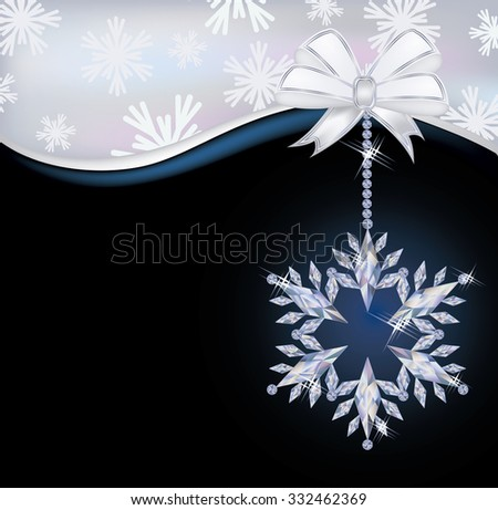 Christmas wallpaper with frozen diamond snowflake, vector illustration