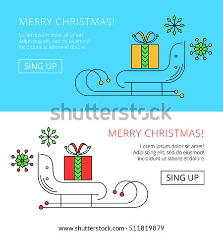 christmas web banner with sleighs and gift box, vector congratulatory header
