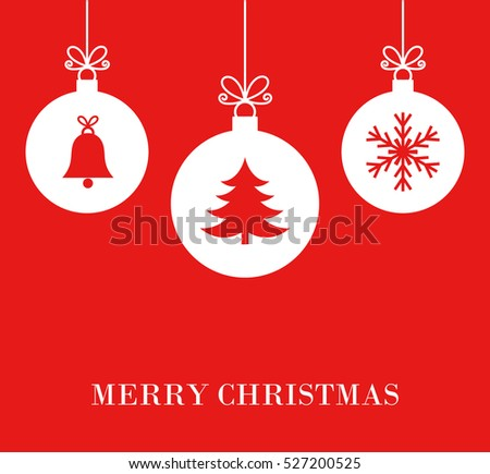 Christmas white baubles on red background illustration