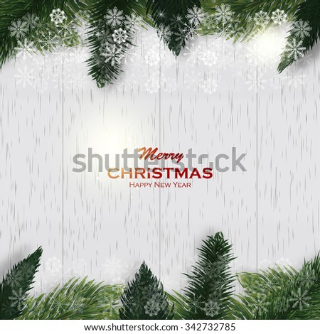 Christmas white wooden background with fir branches and snow. Christmas frame - stock vector