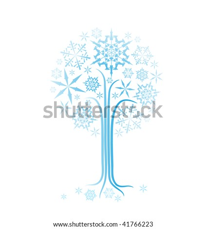 Christmas winter abstract tree vector illustration with snowflakes