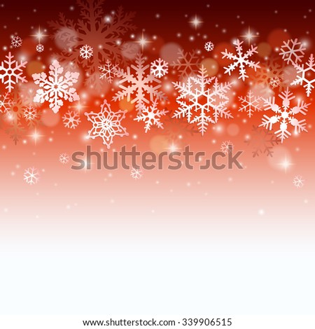 Christmas winter background with falling snowflakes on red - stock vector