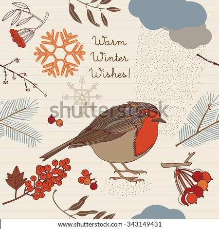Christmas Winter Birds Graphic Design - for t-shirt, fashion, prints - in vector - stock vector