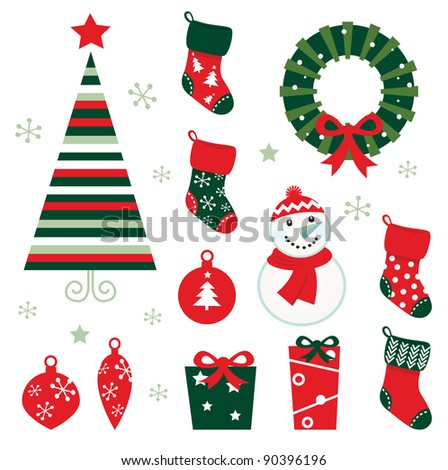 Christmas & winter design elements isolated on white ( red & green ) - stock vector