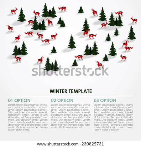 Christmas winter infographics background, snowy landscape with silhouettes of trees and deers, vector illustration - stock vector