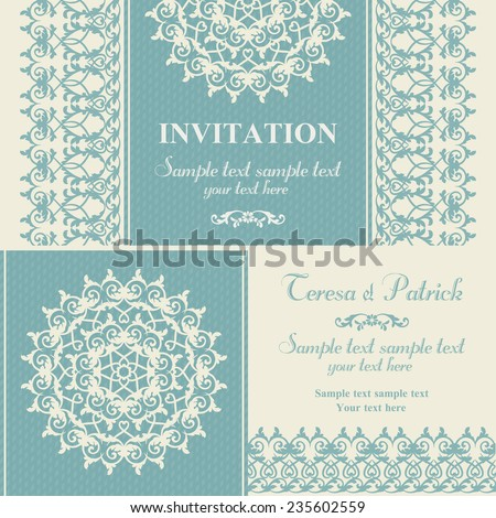 Christmas winter invitation, snowflake and pattern, blue and beige