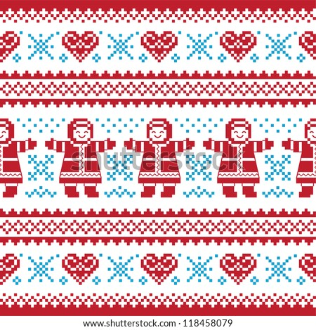 Christmas, Winter knitted pattern, card - scandynavian sweater style - stock vector