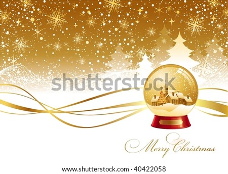 Christmas winter landscape and snow globe - stock vector