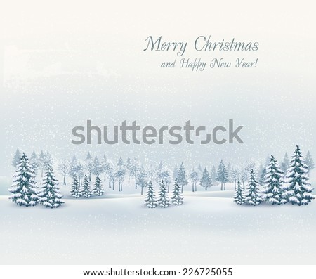 Christmas winter landscape background. Vector.  - stock vector