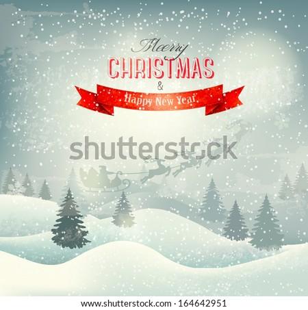 Christmas winter landscape background with santa sleigh. Vector. - stock vector
