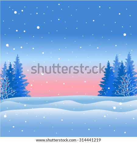 Christmas, winter landscape, trees, snow, cold.