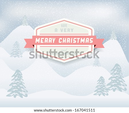 Christmas Winter Landscape.Vector - stock vector