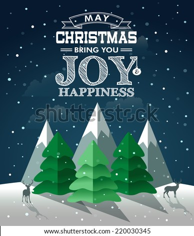 Christmas winter landscape. Vector illustration - stock vector