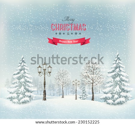 Christmas winter landscape with lampposts. Vector. - stock vector