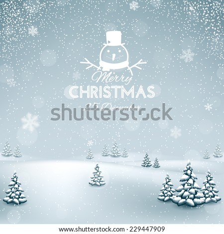 Christmas winter landscape with snowflakes - stock vector
