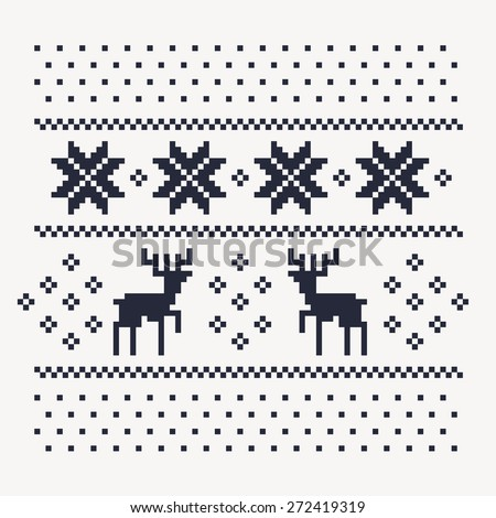 christmas winter pattern print for jersey or t-shirt. Pixel deers and snowflakes on the white background - stock vector