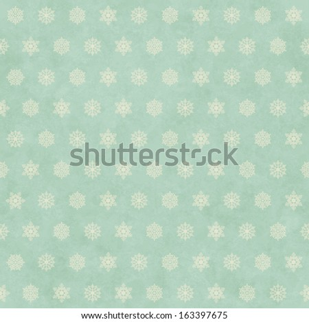 Christmas winter retro seamless pattern background with snowflakes on subtle grunge paper texture. Vector holiday vintage backdrop - stock vector