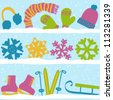 Christmas winter seamless pattern, clothes, snowflakes and sport equipment on snow - stock vector