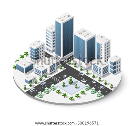 Christmas winter snowbound landscape 3d isometric urban city.  Town center map with buildings, shops and roads on the plane. Seasonal country with streets and snow drifts. Icons stock vector