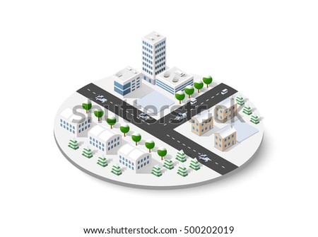 Christmas winter snowbound landscape 3d isometric urban city. Town center map with buildings,shops and roads on the plane.